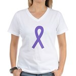 Violet Awareness Ribbon Women's V-Neck T-Shirt
