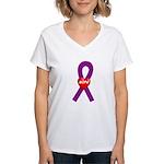 Purple Hope Heart Women's V-Neck T-Shirt
