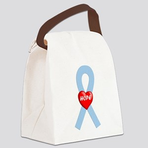 Light Blue Hope Ribbon Canvas Lunch Bag