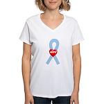 Light Blue Hope Ribbon Women's V-Neck T-Shirt
