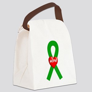 Green Hope Ribbon Canvas Lunch Bag