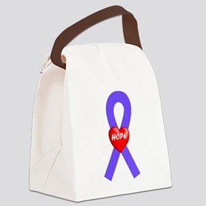 Purple Hope Heart Canvas Lunch Bag
