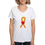 Orange Heart Ribbon Women's V-Neck T-Shirt