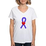 Periwinkle Heart Ribbon Women's V-Neck T-Shirt