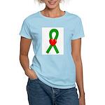 Green Heart Ribbon Women's Light T-Shirt