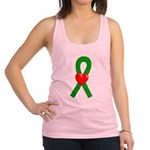 Green Heart Ribbon Racerback Tank Top