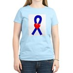 Blue Heart Ribbon Women's Light T-Shirt