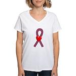Burgundy Heart Ribbon Women's V-Neck T-Shirt