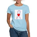 Orchid Heart Ribbon Women's Light T-Shirt