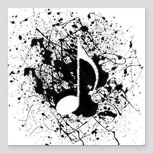 """Music Splatter Square Car Magnet 3"""" x 3"""""""