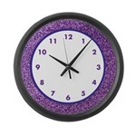 Purple Faux Glitter Clock