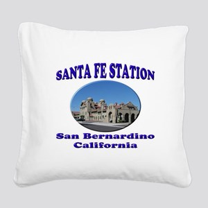 San Bernardino Train Station Square Canvas Pillow