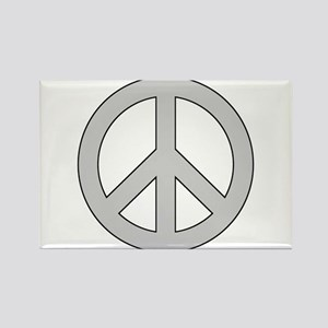 Silver Peace Sign Rectangle Magnet