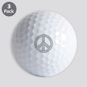Silver Peace Sign Golf Ball