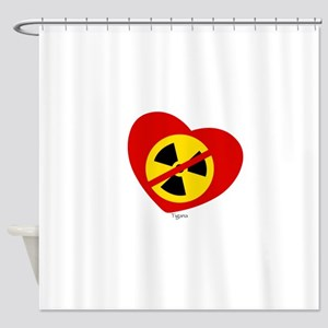 Heart No Nukes (on white) by Tigana Shower Curtain