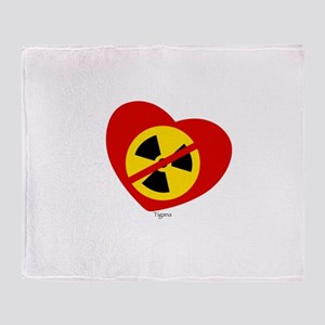 Heart No Nukes (on white) by Tigana Throw Blanket