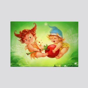 Baby Faeries Fighting Over a Cherry Rectangle Magn