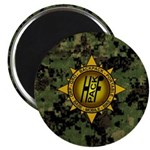 HFPACK Gold Insignia Woodland Camo Magnet round
