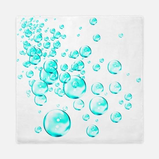 aqua bubbles Queen Duvet