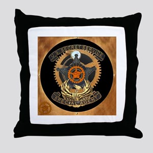 Steampunk Secret Service Badge Throw Pillow