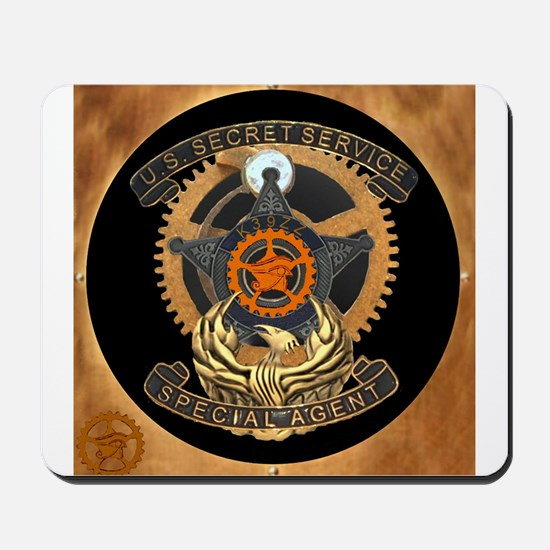 Steampunk Secret Service Badge Mousepad