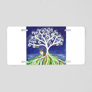 Corgi butterfly tree Aluminum License Plate