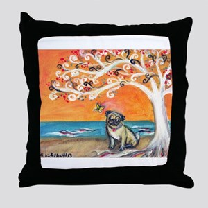Pug ~the beauty of orange Throw Pillow