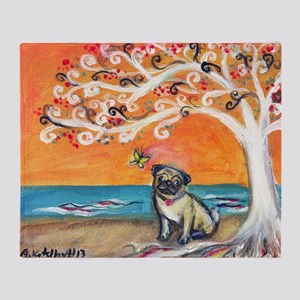 Pug ~the beauty of orange Throw Blanket