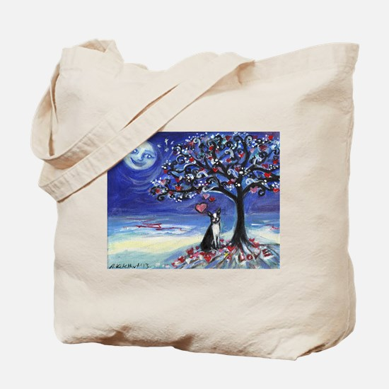 Boston Terrier love hearts Tote Bag