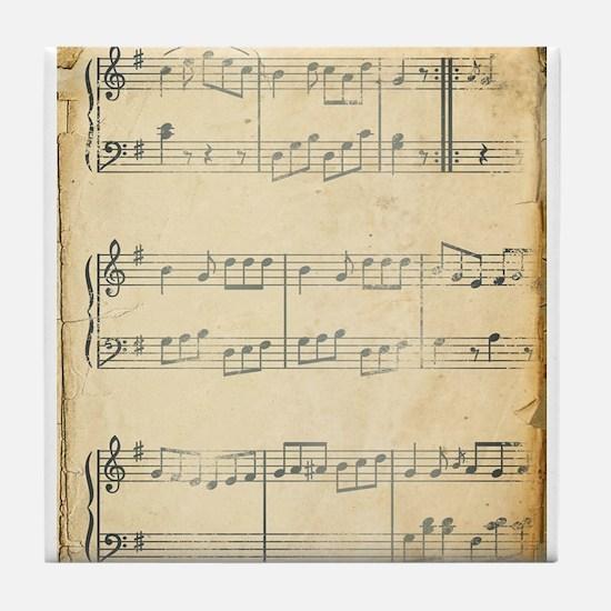 Vintage Music Sheet Tile Coaster