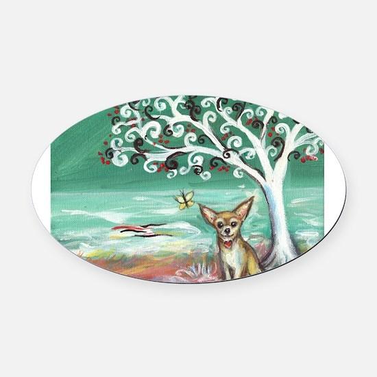 chihuahua spiritual love tree Oval Car Magnet
