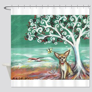 chihuahua spiritual love tree Shower Curtain