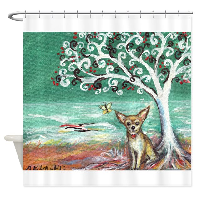 Chihuahua spiritual love tree shower curtain by petartbyangie for Spiritual shower