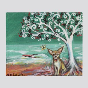 chihuahua spiritual love tree Throw Blanket