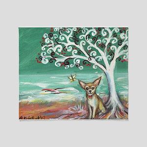 chihuahua spiritual love tree Throw Blanket