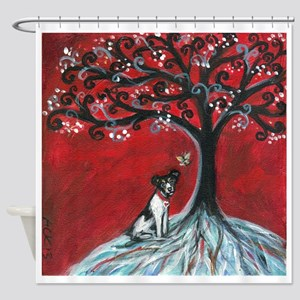 Rat Terrier love hearts spiritual tree Shower Curt