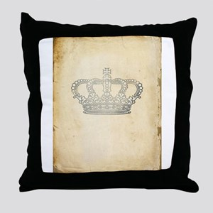 Vintage Royal Crown Throw Pillow