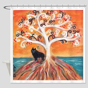 Schipperke spiritual tree Shower Curtain