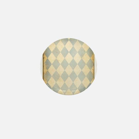 Vintage Blue Diamond Print Mini Button