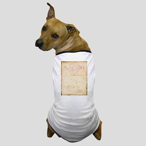 Vintage Pink Damask Scroll Dog T-Shirt