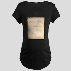 Vintage Pink Damask Scroll Maternity T-Shirt