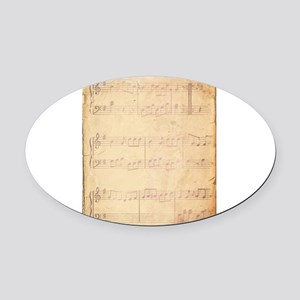 Vintage Pink Music Sheet Oval Car Magnet