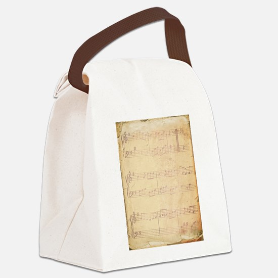 Vintage Pink Music Sheet Canvas Lunch Bag