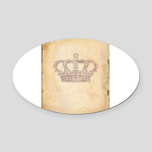 Vintage Pink Royal Crown Oval Car Magnet