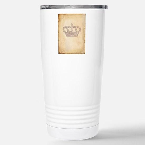 Vintage Pink Royal Crown Travel Mug