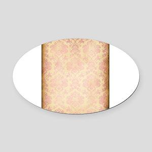Vintage Pink Damask Oval Car Magnet