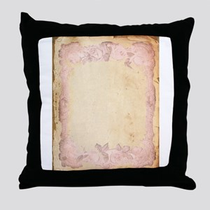 Vintage Rose Frame Throw Pillow