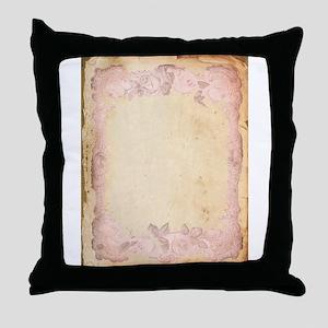 Vintage Rose Frame Throw Pillow