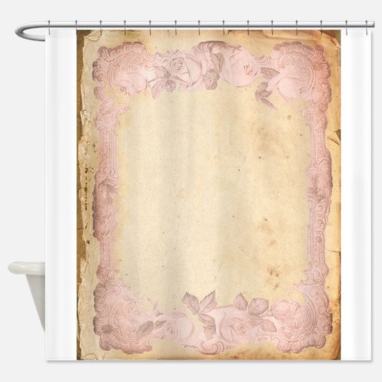 Vintage Rose Frame Shower Curtain