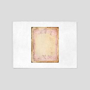 Vintage Rose Frame 5'x7'Area Rug